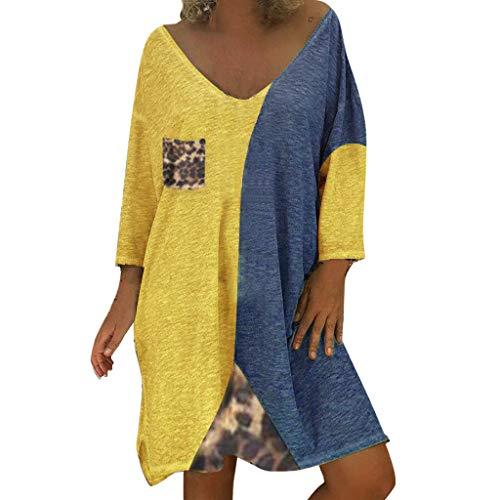 LOPILY Damen Kleid Leopard Muster Shirtkleid 54 52 Farbblock Tunika Kleid Locker Große Größen Blusenkleid Wild Sexy Hemdkleid Knielang Strandkleid Retro Abendkleid für Mollige (Gelb, 40)