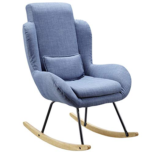 FineBuy Schaukelstuhl Corey Blau Design Relaxsessel 75 x 110 x 88,5 cm | Sessel Stoff/Holz | Schwingsessel mit Gestell | Polster Relaxstuhl Schaukelsessel | Moderner Schwingstuhl | Hochlehner