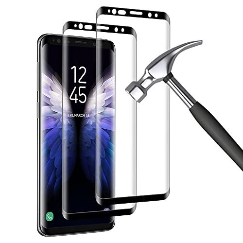2 Pièces Verre Trempé pour Samsung S9, 3D Incurvé Couverture Complète, Ultra Claire, Dureté 9H, Haute qualité Protection Ecran pour Samsung Galaxy S9