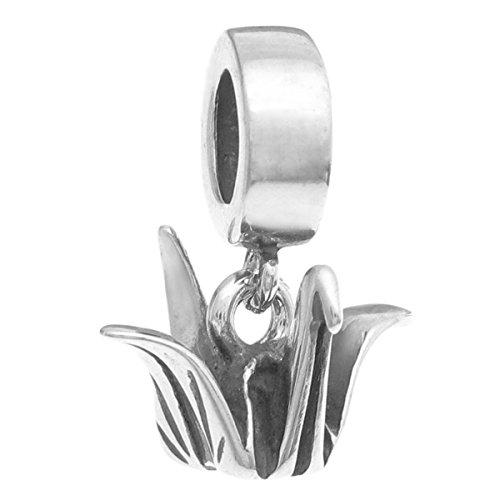 Abalorio de plata de ley, diseño de grulla de papel, origami, estilo europeo
