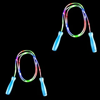 LED Jump Rope, 2 -Set Value Pack, Light Up Jump Rope, Glows (Blue/Green)