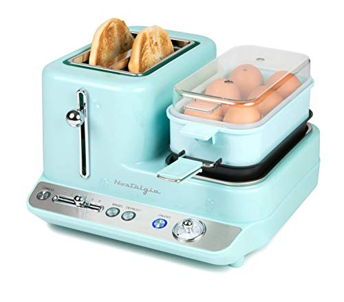 Nostalgia CLBS3AQ Classic Retro 3-in-1 Breakfast Station, 2-Wide Slot Toaster With Adjustable Toasting Control, Non-Stick Griddle For Bacon, Ham, Sausage, Hashbrowns & Omelettes, 6 Capacity Egg Cooker