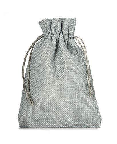 12 Sacchetti di stoffa in stile iuta, misura 20x12 cm, sacchetti regalo, sacchetti per calendario dell' avvento (argento)