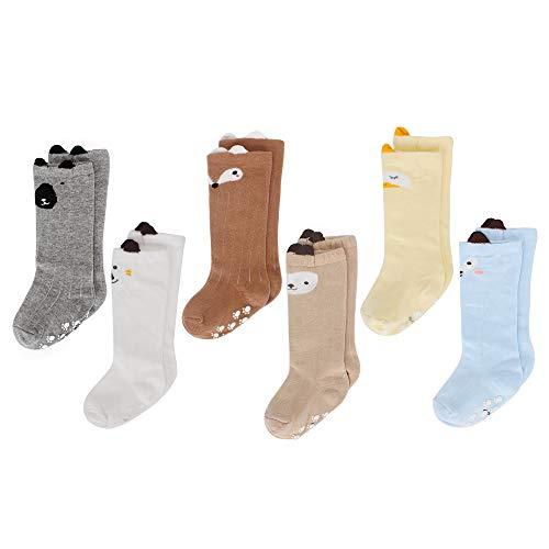 LACOFIA 6 Pares de calcetines largos de altos para bebé niños Medias antideslizante de algodón de punto princesa infantiles niño 1-3 años
