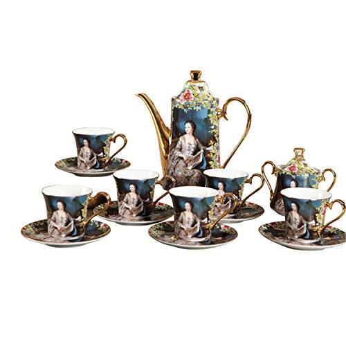 XCXDX Ensemble À Café en Porcelaine Tendre, À Thé, Après-midi Noble, Cafetière en Porcelaine, Pot À Lait, Sucrier, Tasse Et Soucoupe, 15 Pièces