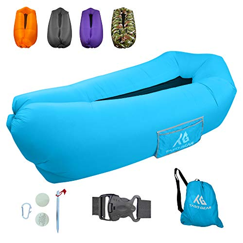 Taso Gear - Inflatable Lounger Air Sofa - Ideal for Camping Hiking Traveling Beach Picnic & Music Festivals - Waterproof Pouch Couch - Portable Hammock - Upgraded Anti-Air Leaking Design (Blue)