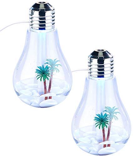 Carlo Milano Luftreiniger-LEDs: 2er-Set Luftbefeuchter im Glühbirnen-Design, mit Farb-LEDs & Deko (Licht-Deko LED)