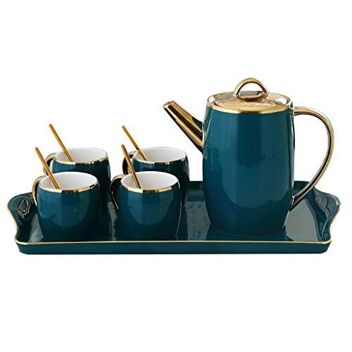 6 Oz ceramika kubek herbaty zestaw kawy, porcelanowe kubki espresso z łyżkami czajniczek i tacy - zestaw 4, ciemnozielony do ekspresu do kawy na imprezę herbaty lub inne różne okazje