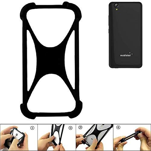 K-S-Trade® Handyhülle Für Mobistel Cynus E7 Schutz Hülle Silikon Bumper Cover Case Silikoncase TPU Softcase Schutzhülle Smartphone Stoßschutz, Schwarz (1x),