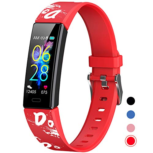 Mgaolo Slim Fitness Tracker for Kids Women,IP68 Waterproof Activity Tracker with Blood Pressure Heart Rate Sleep Monitor,11 Sport Modes Health Smart Watch with Pedometer Alarm Clock,Great Gift (Red)