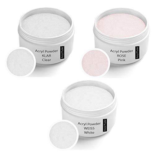 Acryl Pulver Set, klar 30g, Rosa 30g, weiß 30g - Acrylpulver Set - Acryl Puder Set - Acrylpuder Set