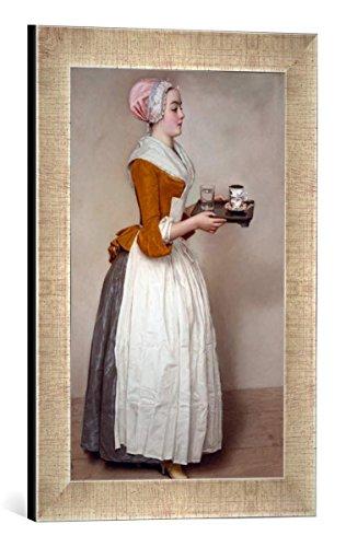 Gerahmtes Bild von Jean Etienne Liotard Das Schokoladenmädchen, Kunstdruck im hochwertigen handgefertigten Bilder-Rahmen, 30x40 cm, Silber Raya
