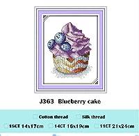 ブルーベリーケーキクロスステッチキット動物18CT 11CT 14Ctカウントを印刷ステッチ刺繍DIY手作り刺繍プラス・パッケージ、ブルーベリーケーキ、木綿糸、11CTを印刷