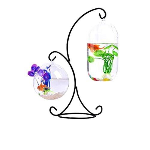 RuiyiF Desk Hanging Fish Tank Bowl with Stand Creative, Small Table Glass Fish Vase Aquarium for Home Decor -2 Fish Bowls