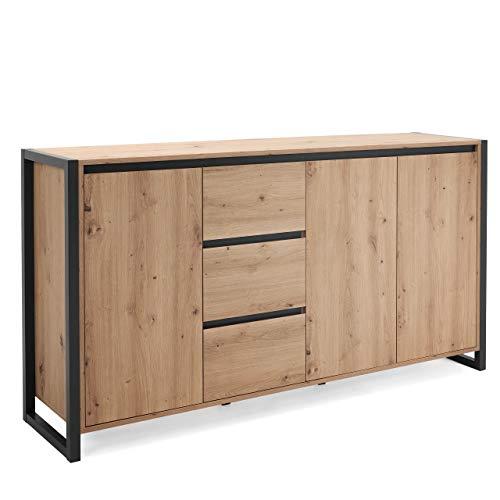 Newfurn Kommode Anthrazit Wildeiche Sideboard Vintage Industrial - 160x88x40 cm (BxHxT) - Highboard Anrichte - [Vincent.Three] Wohnzimmer Schlafzimmer Flur Esszimmer