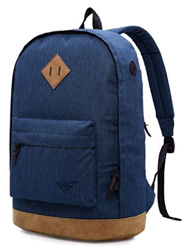936Plus Casual Backpack College School Vintage Bookbag Water Resistant Work Travel Rucksack, Navy