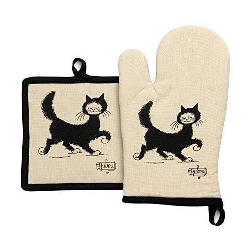 Winkler - Lot gant/manique Dubout Chat Balade – 100% coton - Protection de cuisine, barbecue, pâtisserie – Dessous de plat en tissu – Illustration dessin français