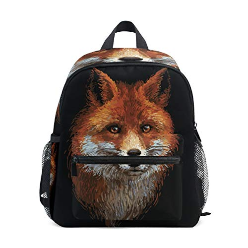 Abstract Fox Toddler Backpack Bookbag Mini Shoulder Bag for 1-6 Years Travel Boys Girls Kids with Chest Strap Clip Whistle