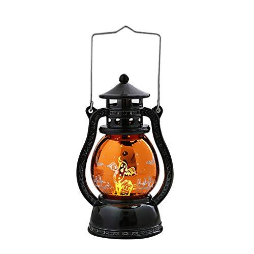 Lampada a sospensione a LED, JIJI886 Lampada a forma di zucca di Halloween Lampada a olio portatile piccola Potenza della batteria Decorazione della luce notturna della strega (B)
