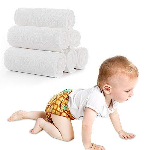 Lictin 10PCS Pañales Lavables para Bebés-Pañales Lavables para Bebés con Microfibra de Doble Capa, Alta Absorción,Lavable, Reutilizable, Seguro, Higiénico y Ecológico(35 * 13 cm)
