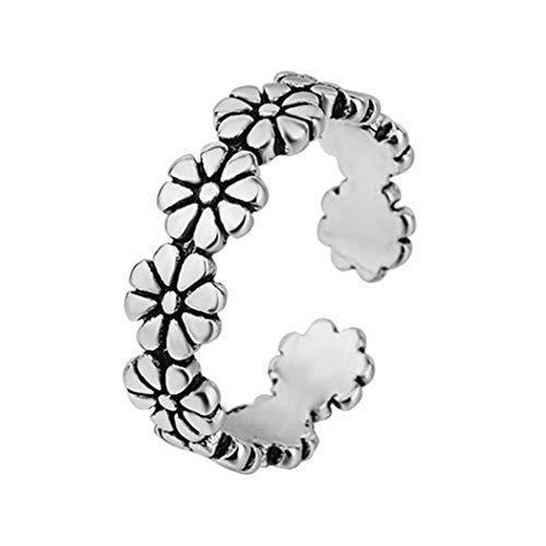 Aukmla Anillo de flores vintage de plata ajustable anillo abierto margaritas entrelazadas flores anillo de dedo joyería para mujeres y niñas