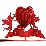 Biglietto di Auguri di Cupido,Biglietto per Valentine's Day,Biglietto di auguri pop-up 3D,Utilizzato per San Valentino, Regali di Compleanno, ASnniversari