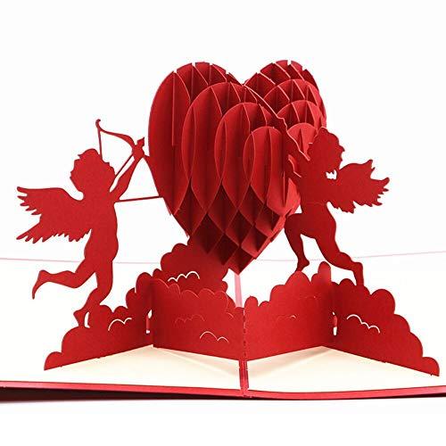 Amor Grußkarte,3D Pop Up Grußkarte,Grußkarten, Einladungsumschläge,Verwendet für Valentinstag, Geburtstagsgeschenke, Jahrestage