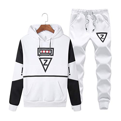 Men's Casual 2 Piece Outfits Long Sleeve Hooded Sweater Top& Pants Jumpsuit Set White