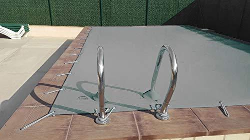 Winterabdeckung für Pool 3 x 4 m Plus 15 cm auf jeder Seite für Verankerung in Grau (außen) und Grau (innen) + Aufbewahrungstasche als Geschenk