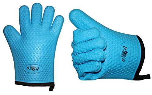 BBeeQ 2er Set Grillhandschuhe Silikon und Baumwolle - hitzebeständig bis 300°C - zum Grillen, Kochen, Backen - Topfhandschuhe, Grillhandschuhe - Blau