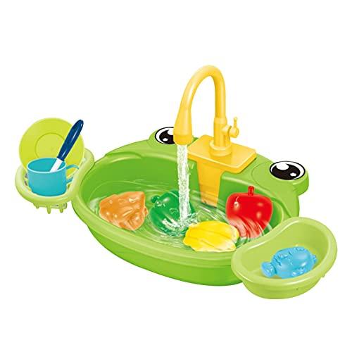 bozitian Juego De Juguetes para Fregadero Juego De Cocina para Niños De Juguete para Fregadero con Ciclo De Agua Lavaplatos Juguetes Educativos para Padres E Hijos Juguetes para Niños Pequeños 1-3