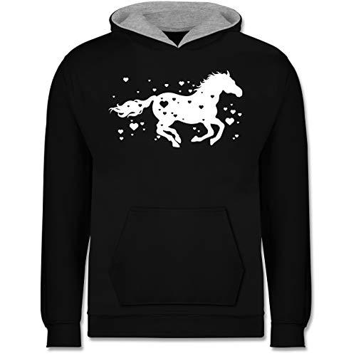 Shirtracer Tiermotive Kind - Pferd mit Herzen - 104 (3/4 Jahre) - Schwarz/Grau meliert - Kinder Pferde Pullover - JH003K - Kinder Kontrast Hoodie
