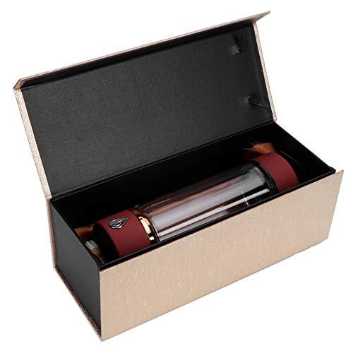 Omabeta Generador de Agua Rica en hidrógeno de 380 ml, Botella de Agua de hidrógeno portátil de Alta concentración, Botella de Vidrio antioxidante antienvejecimiento, Carga USB