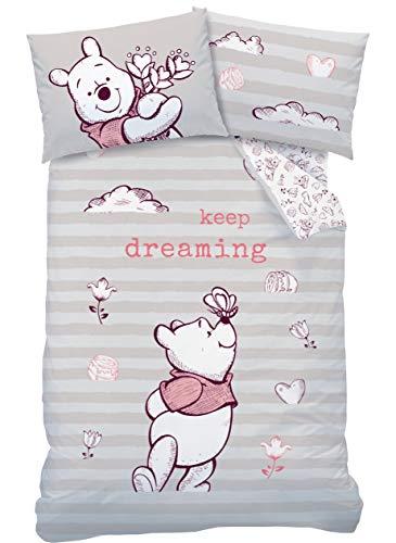 CTI Winnie Pooh - Juego de ropa de cama para bebé (franela, 1 funda de almohada de 40 x 60 cm y 1 funda nórdica de 100 x 135 cm, 100% algodón), diseño de Winnie the Pooh