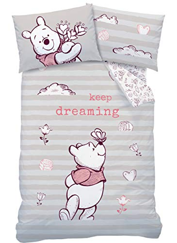 Winnie the Pooh Baby Bedding Flannelette Girls 1 Pillow Case 40 x 60 cm + 1 Duvet Cover 100 x 135 cm Disney Winnie the Pooh 100% Cotton