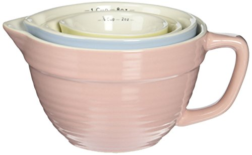 Creative Co-Op DA1803 Set of 4 Batter Bowl Shaped Measuring Cups in Pink, Blue, Green & Yellow
