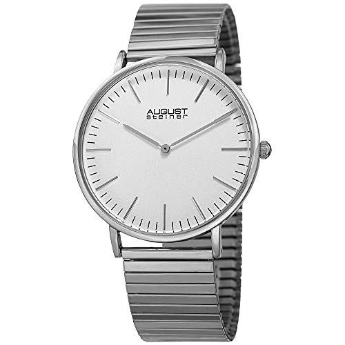 August Steiner Stretch Bracelet Men's Watch – Designer Expandable Stainless Steel Silver Strap – Round Polished Bezel, Matte Dial - AS8216SS