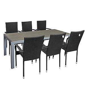 Multistore 2002 7tlg. Gartengarnitur Gartenmöbel-Set Gartentisch mit Polywood Tischplatte 205x90cm stapelbare…