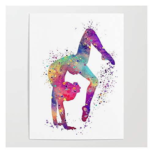 Society6 Girl Gymnastics Tumbling Watercolor by Lotusart on Art Poster - 18' X 24'