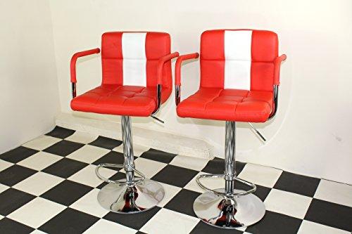 American Diner Stil der 50er Jahre Retro Bar/Hocker Stühlen mit Armlehne rot X 2