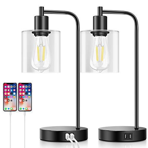 hp table lamps Set of 2 Industrial Touch Control Table Lamps with 2 USB Ports and AC Outlet, 3-Way Dimmable Bedside Nightstand Reading Lamps with Glass Shade for Bedroom Office, Daylight White LED Bulbs Included