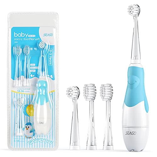 Seago Elektrische Zahnbürste Kinder 6 Monaten bis 4 Jahren, Schallzahnbürste mit LED Licht Aufsteckbürste Smart Timer Wasserdicht IPX7,SG513(Blau)