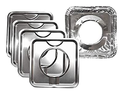Range Kleen Chrome Square Range Drip Pan/Yellow Label (4 pack) WITH 8 Foil Burner Liners