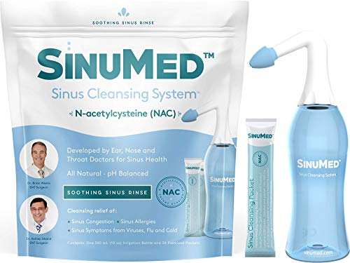 SinuMed: Sinus Cleansing System - Relief of Sinus Congestion, Allergies, and More - 1 Kit (30 Packets, 1 Bottle) - Patent-Pending N-acetylcysteine - All Natural, pH Balanced - Developed by ENT MDS