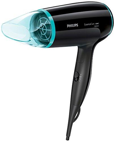 Philips Essential Care BHD007/00 secador Negro, Azul 1800 W - Secador de pelo (Negro, Azul, Con agujero en la empuñadura para colgar, 1,8 m, 1800 W, 110-240 V, 125 mm)