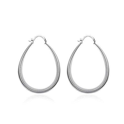 Women Fashion 925 Silver Classic Big Hoop Drop Dangle Earring Jewelry Gift