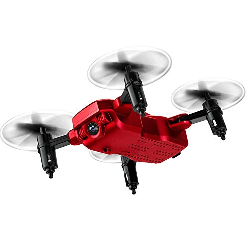 Slreeo Real-time Image Transmission and Aerial Photography. Foldable Drone, Intelligent Air Pressure Fixed-Height Quadcopter, Adult and Child RC Toy Model, One-Key Lift/Return (Color : Red)