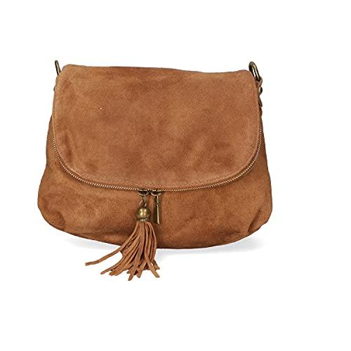 Chicca Borse Borsa crossbody donna borsa a tracolla in pelle scamosciata borsa piccola italiana - Cuoio