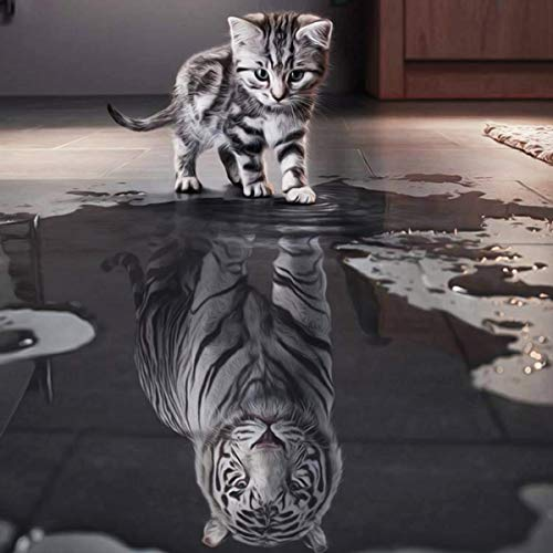 trounistro DIY 5d Diamant malerei Kits, DIY 5D Diamant DIY 5D Diamant Painting Home Wand Decor gemälde Kreuzstich Diamond Dekoration (Kleine Katze MöChte GroßEr Tiger Sein, 30 * 30CM)