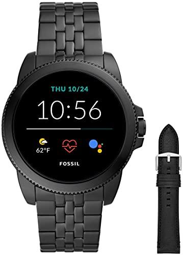 Fossil Connected Smartwatch Gen 5e para Hombre con tecnología Wear OS de Google, frecuencia cardíaca, NFC y notificaciones smartwatch, Acero Inoxidable Negro + Correa de Reloj S221254, Negro